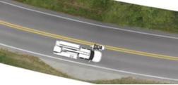 Image showing relationship of vehicles to centerline of highway at time of collision