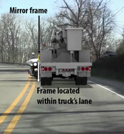 Illustration showing relationship of the motorcycle and the REMC Service truck to the double yellow center line on the highway at the time of collision. impact