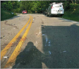 Photographic image of collision evidence.